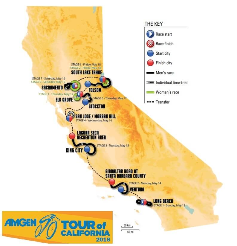 Amgen Giro di California 2018 - Percorso