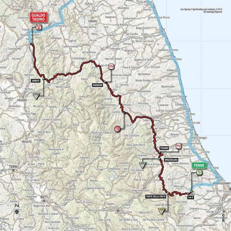 Giro d'Italia 2018 presentazione tappa 10 da Penne a Gualdo Tadino Planimetria