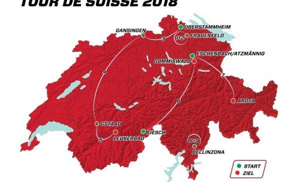 Giro di Svizzera 2018 percorso, planimetria, altimetria e start list