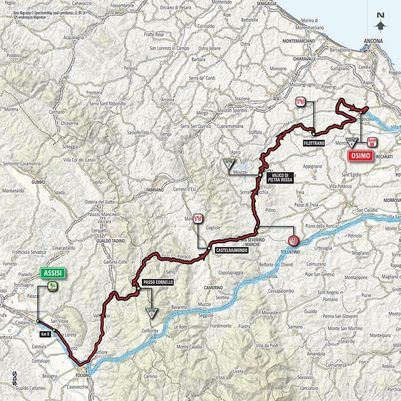 Giro 101 Tappa 11 da Assisi a Osimo - Planimetria
