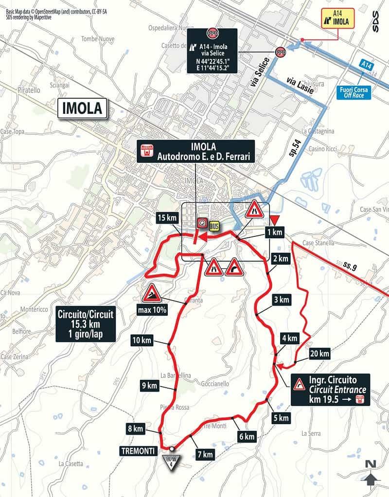 Giro d'Italia 2018 Tappa 12 Osimo - Imola - Planimetria Ultimi KM