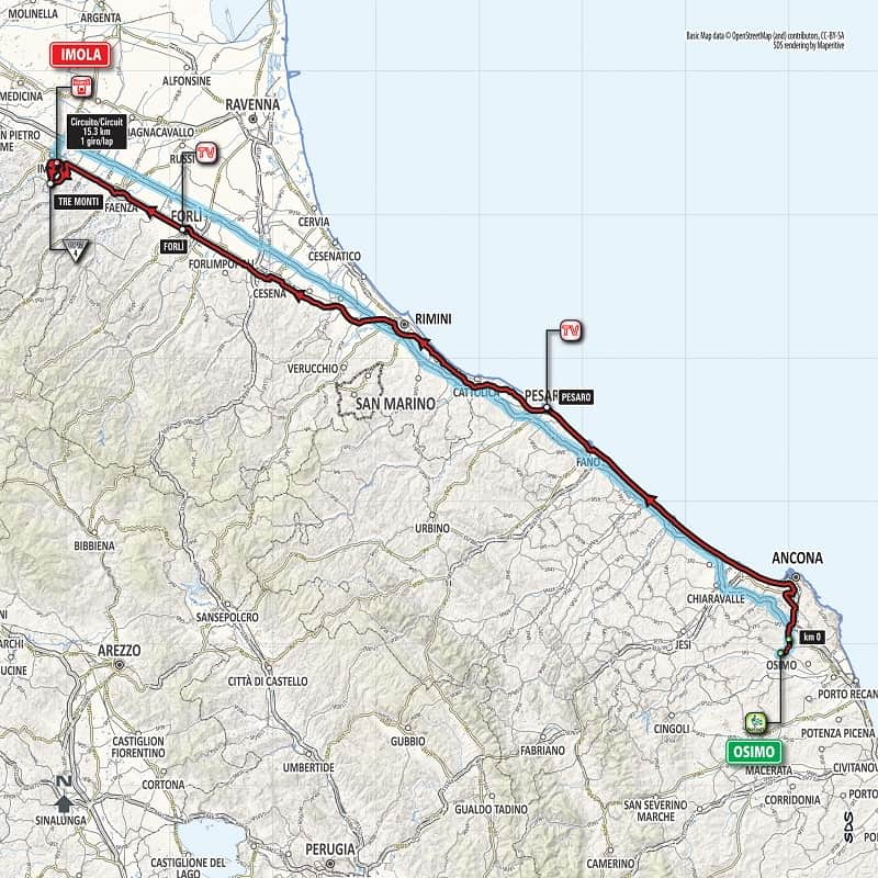 Giro d'Italia 2018 Tappa 12 Osimo - Imola Planimetria
