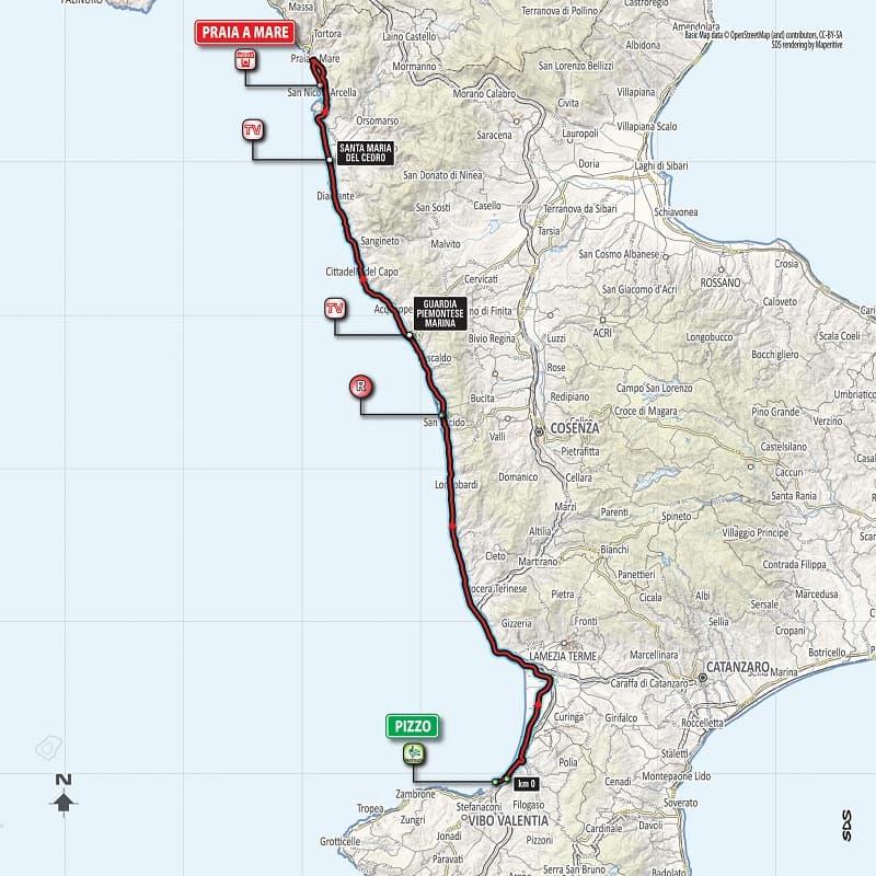 Giro d'Italia 2018 presentazione tappa 7 Pizzo Praia a mare planimetria