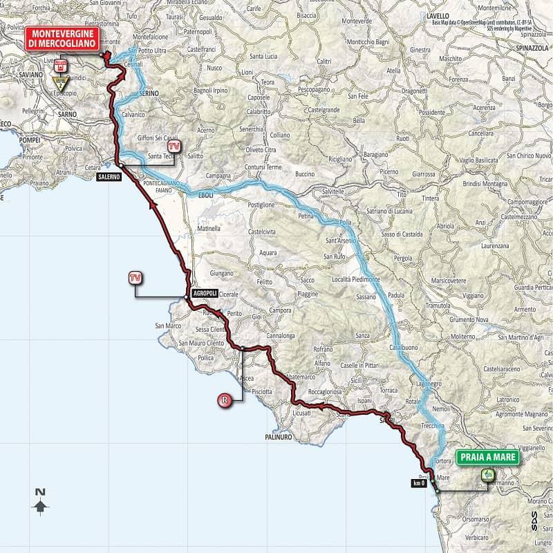 Tappa 8 del Giro d'Italia 2018 Paraia a Mare ==> Montevergine di Mercogliano planimetria