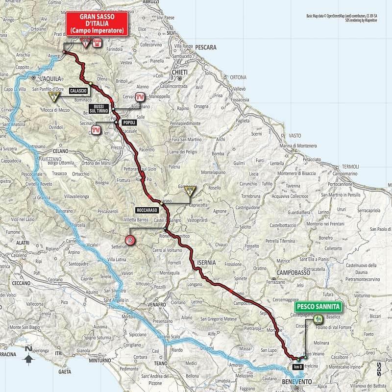 Giro d'Italia 2018 - Tappa 9 Planimetria