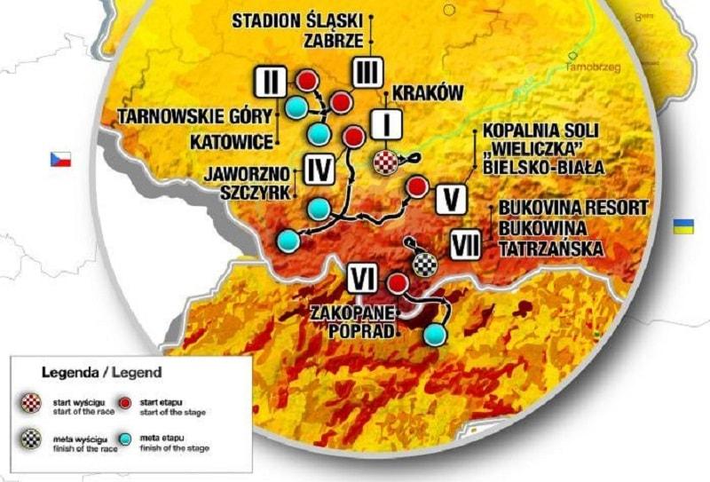 Giro di Polonia 2018 percorso con altimetria e start list della 75a edizione