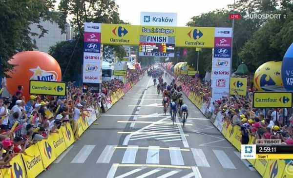 Giro di Polonia 2018 tappa 1 vittoria di Pascal Ackermann, 3° Trentin