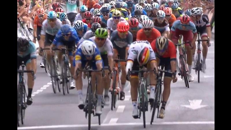 Giro di Germania 2018 tappa 1 vittoria di Hodeg su Ackermann e Bonifazio