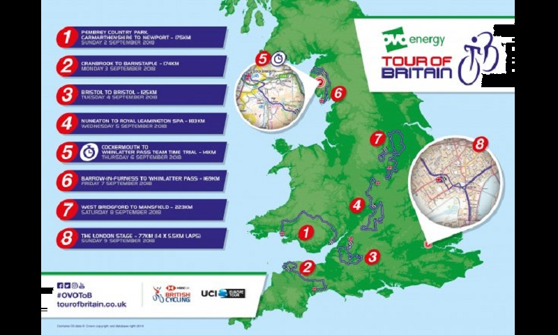 Ovo Energy Tour of Britain 2018 percorso con altimetrie e start list