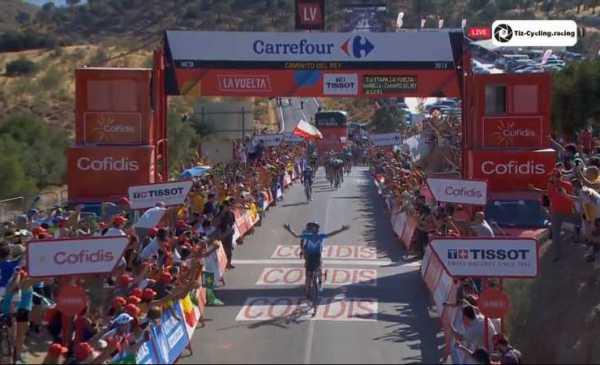 La Vuelta 2018 tappa 2 Valverde si impone su Kwiatkowski al Caminito del Rey