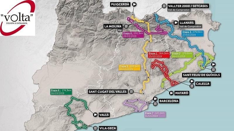Volta Ciclista a Catalunya 2019: percorso, altimetrie e start list
