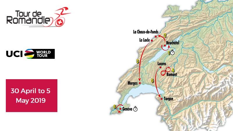 Tour de Romandie 2019: tappe, percorso, altimetrie e start list