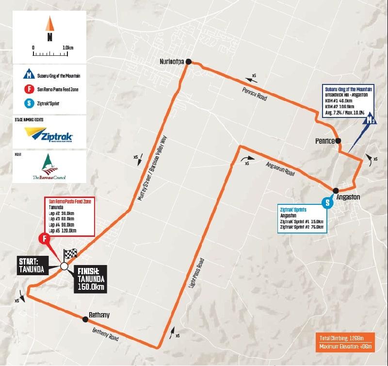 Santos Tour Down Under 2020 Stage 1 Planimetria