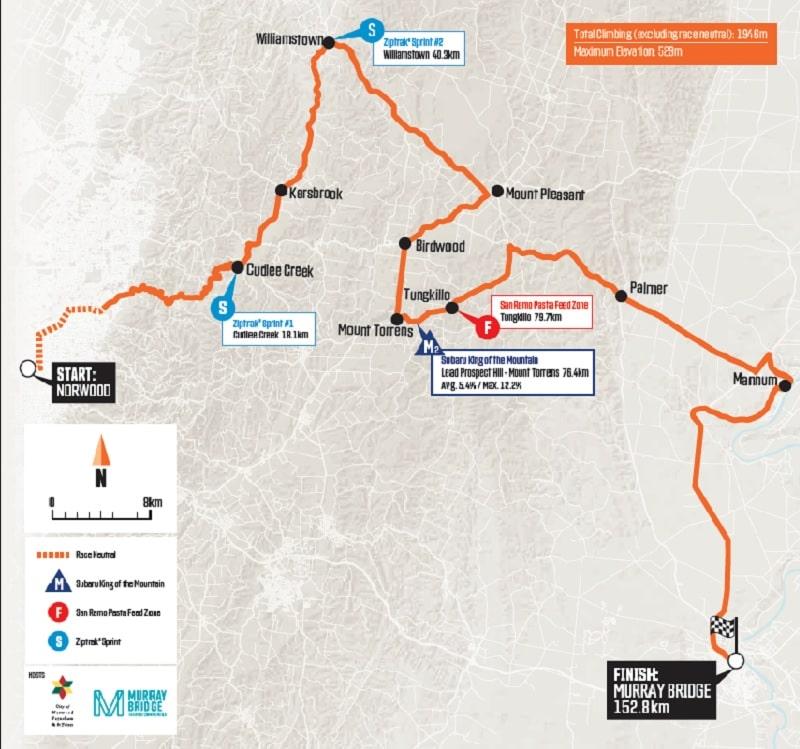 Santos Tour Down Under 2020 Tappa 4 - 24 gennaio Norwood - Murray Bridge, planimetria