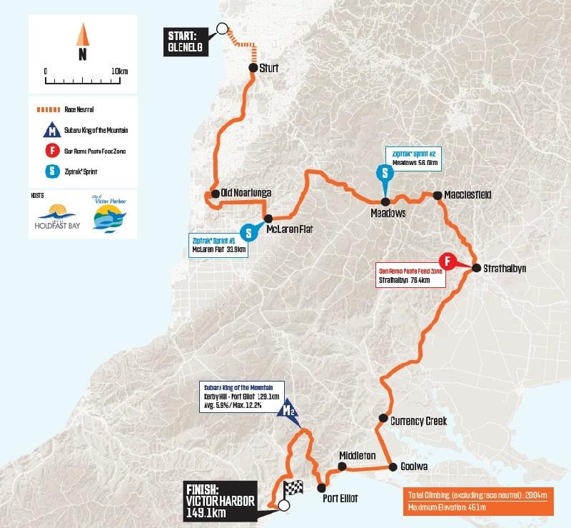 Santos Tour Down Under 2020 - Tappa 5 planimetria