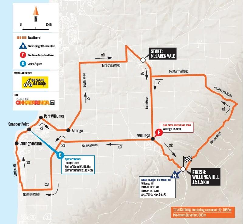 Santos Tour Down Under 2020 - Tappa 6 planimetria